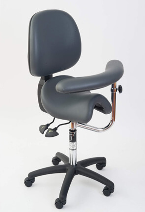 Saddle chair with back and swing arm for dental hygienists
