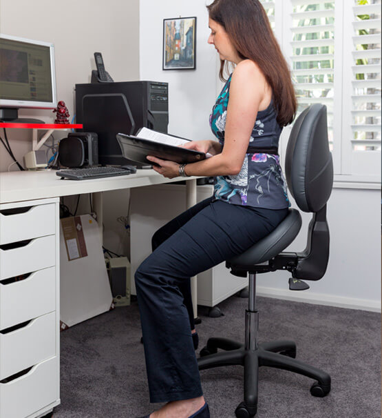 Bambach saddle seat with back support for home office