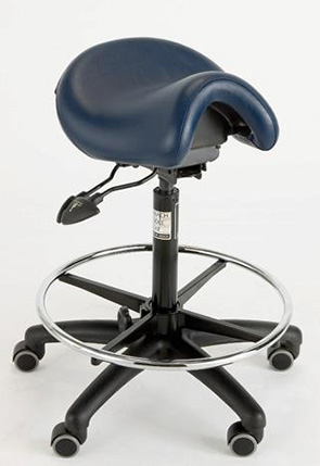 Saddle chair with drafting foot ring for opticians