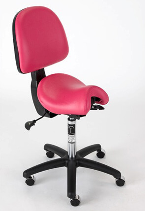 Ergonomic saddle seat with back support for SME