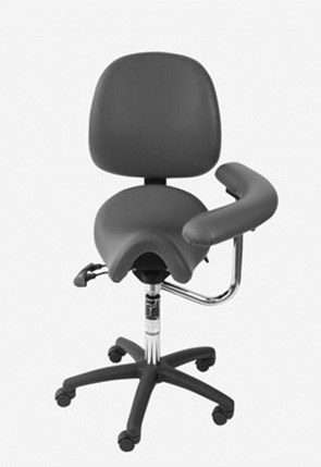 Saddle seat with back and swing arm for dental hygienists