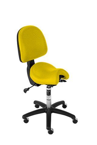 Bambach Saddle Seat Small with Back Yellow Ergonomic Chair