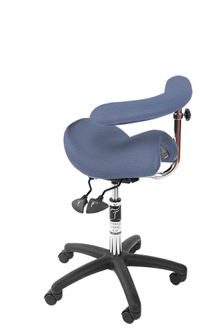 Bambach Saddle Seat Stonewash No Back Ergonomic Chair