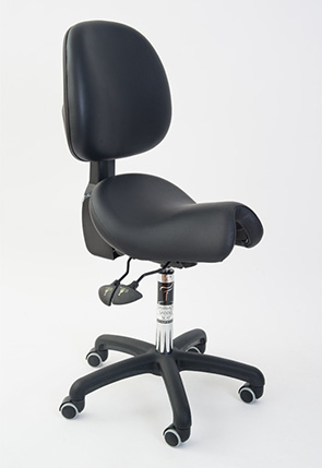 Saddle seat with back support for creatives