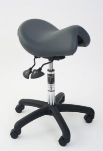 Ergonomic low saddle seat for home office
