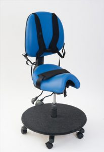Saddle seat with back support and carpeted ply board for special needs