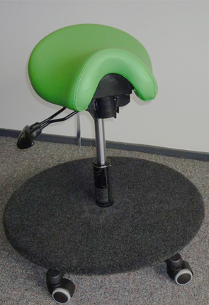 Saddle stool with carpeted ply board for special needs