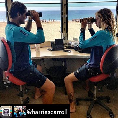 Two lifeguards sit on Bambach saddle seat