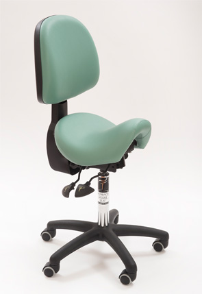 Saddle seat with back support for WHS representatives