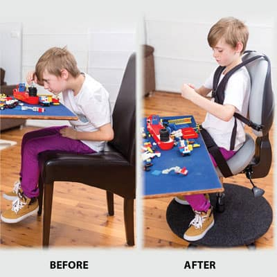 Before and after using Bambach saddle seat